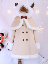 Sweet Lolita Outfits Wool Khaki Long Sleeve Bows Pea Coat With Cape