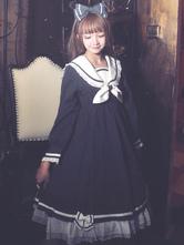 Sailor Lolita OP One Piece Dress Long Sleeve Ruffles Dark Navy Lolita Dress