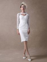 Short Wedding Dresses Lace Sheath Bridal Dress Long Sleeve Cut Out Ivory Knee Length Wedding Gowns