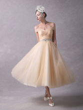 Vintage Wedding Dresses Champagne Off The Shoulder Bridal Dress Tulle Tea Length Beaded Retro Wedding Gowns