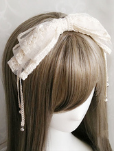Lolita Copricapo bianco dolce in tulle con pizzo Tea party