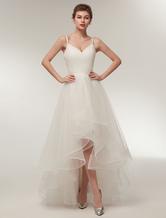 Vestito da Sposa Mare avorio svasato asimmetrico con scollo a V smanicato con incroci di Lacci in tulle
