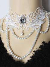 collier lolita classique Collier bicolore avec perles Tea party blanche  Déguisements Halloween