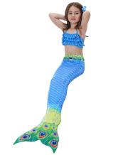 Mermaid Tail Costumes Kids Peacock Blue Little Girls Bathing Swimming Suit Carnival