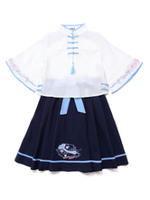 Chinese Style Lolita Outfit Chiffon Tassel Embroidered Top With Pleated Bow Skirt