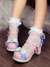 Sweet Lolita Heels Bow Plaid Strappy Platform Chunky Heel Pink Lolita Shoes