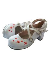 Sweet Lolita Footwear Floral Jacquard Strappy Chunky Heel Platform White Lolita Shoes