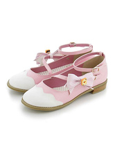 Sweet Lolita Shoes Bow Two Tone Strappy Round Toe Pink Lolita Footwear
