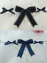 Collana Lolita dolce in lega d'acciaio fiocchi&perle bicolore Tea party