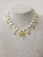 ROCOCO Lolita Jewelry Metal Detail Pearl Gold Lolita Dangle Necklace
