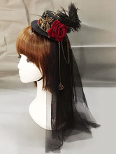 Steampunk Lolita Headdress Feather Floral Hat Metallic Pleated Tulle Black Lolita Veil