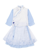 Qi Lolita Outfit Chiffon Baby Blue Print Top Layered Pleated Lolita Skirt