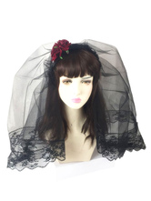 Lolita Acconciatura gotica in tulle Tea party bicolore nera
