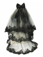 Gothic Lolita Headdress Tulle Layered Ruffle Lace Bow Black Lolita Hair Comb