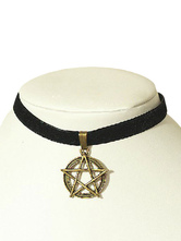 Gothic Lolita Choker Metal Detail Pentacle Vintage Black Lolita Necklace