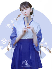 Chinese Style Lolita Outfit Navy Blue Ruffle Top With Embroidered Pleated Skirt