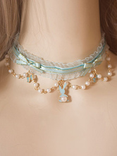 Sweet Lolita Choker Pearl Bow Tulle Ruffle Mint Green Lolita Necklace