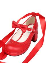 Sweet Lolita Heels Petal Bow Strappy Tie Leg Chunky Heel Red Lolita Shoes