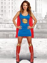 Disfraz Halloween Disfraces de Halloween Supergirl Mujeres Azul Vestidos cortos Carnaval Halloween