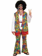 Halloween Kostüm Karneval Hippie Kostüm Retro Männer Blumendruck Grün Hosen und Weste Kostüm Set Faschingskostüme