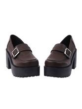 Classic Lolita Shoes Square Toe Buckle Platform Brown Lolita Footwear