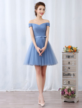 Short Prom Dresses Off The Shoulder Graduation Dress Baby Blue Tulle Pleated Sash Cute Homecoming Dresses