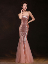 Mermaid Prom Dresses Long Sequin Evening Dress Strapless Cameo Pink Formal Gowns
