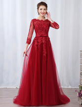 Burgundy Evening Dresses Long Sleeve Lace Applique Beaded Formal Gown With Train