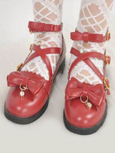 Sweet Lolita Footwear Bow Pearl Strappy Buckle Red Lolita Shoes