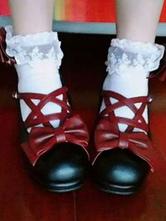 Sweet Lolita Footwear Bow Strappy Platform PU Black Lolita Shoes