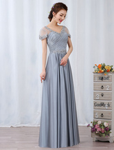 Silver Evening Dresses Maxi Lace Applique Beaded Short Sleeve Pleated Long Wedding Guest Dress