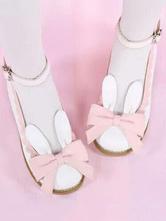 Sweet Lolita Pumps Bunny Bow Two Tone Ankle Strap White Lolita Shoes