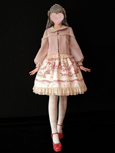 Classic Lolita Overcoat Infanta Puff Bow Frill Bow Cashmere Cameo Pink Lolita Coat