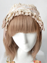 Sweet Lolita Headdress Infanta Angel Music Bow Ruffle Ecru White Lolita Hair Accessory