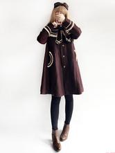 Lolita Manteau avec noeud hiver et noeud Ensemble col marin en tweed bicolore quotidienne marin
