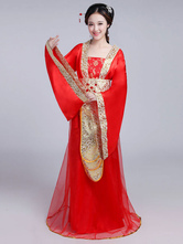 Costume Holloween Costume cinese tradizionale femminile rosso raso donne Hanfu vestito antica dinastia Tang Abbigliamento 3 pezzi Halloween