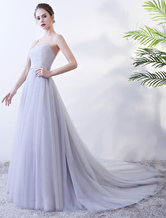 Prom Dresses Strapless Sweetheart Evening Gowns Tulle Pleated Beading Sash Formal Dress With Train