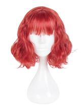 Harajuku Lolita Wig Blunt Fringe Spiral Curl Red Short Lolita Wig