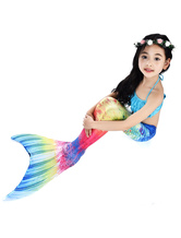 Kids Mermaid Costume Halloween Fishtail Swimsuits 2 Piece Set