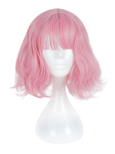 Harajuku Lolita Wig Blunt Fringe Natural Wave Pink Lolita Wig