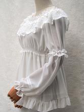 Classique Lolita Chemise en dentelle à volants Plissé en mousseline de soie Lolita Blouse