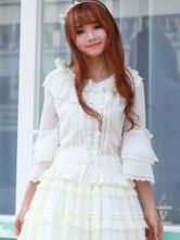 Classique Lolita Blouse Ruffle ruban Bow dentelle garniture en mousseline de soie Lolita Shirt