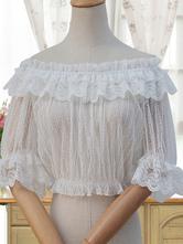 Classica Lolita Camicetta Top in lino con volant e tulle