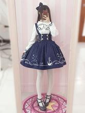 Sailor Lolita Kleid Set Print Ribbon Button Dunkelblaues Lolita Kleid mit Baumwollbluse