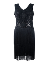 Faschingskostüm 20er Jahre Kleid Charleston Kleid für Damen Polyester Vintage Kleid Karneval Kostüm