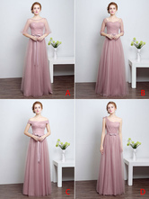 Prom Dresses Long Cameo Pink Bridesmaid Dress Tulle Ribbon Sash Floor Length Formal Party Dress