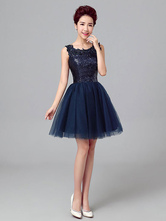Short Prom Dresses Dark Navy Sequin Tulle Cute Graduation Dress Sleeveless Mini Cocktail Dress