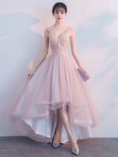 Pink Prom Dresses Lace V Neck High Low Graduation Dress Asymmetrical Party Dress