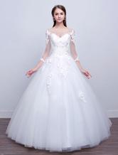 Abiti da sposa 2021 principessa abito da sera Abiti da sposa a maniche lunghe in pizzo illusion avorio