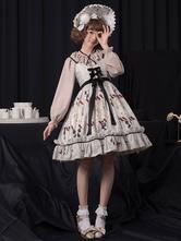 Sweet Lolita JSK Dress Vento História Imprimir Bow Ruffle Lolitajumper Saia